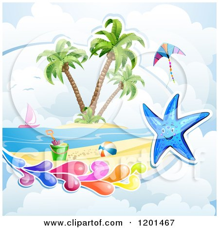 Clipart of a Starfish with a Colorful Splash over a Beach - Royalty Free Vector Illustration by merlinul