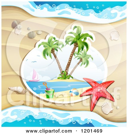 Clipart of a Starfish over a Beach Scene Against Sand - Royalty Free Vector Illustration by merlinul