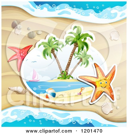 Clipart of a Happy Starfish over a Beach Scene - Royalty Free Vector Illustration by merlinul