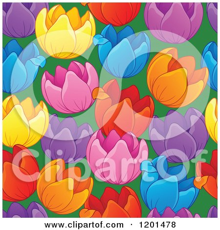 Cartoon of a Seamless Colorful Tulip Flower Background Pattern - Royalty Free Vector Clipart by visekart