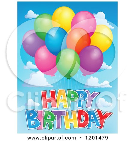 Cartoon of a Bundle of Colorful Party Balloons and Happy Birthday Text in the Sky - Royalty Free Vector Clipart by visekart
