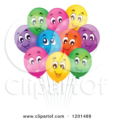 Cartoon of a Bundle of Colorful Happy Birthday Party Balloons and Strings - Royalty Free Vector Clipart by visekart