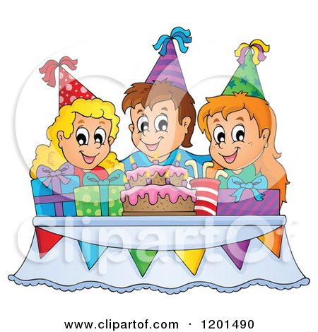 Cartoon of Happy Children Around a Cake and Pesents at a Birthday Party - Royalty Free Vector Clipart by visekart