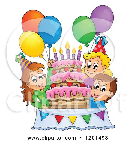 Clipart of a Cartoon Birthday Cake with Colorful Stars and Party ...