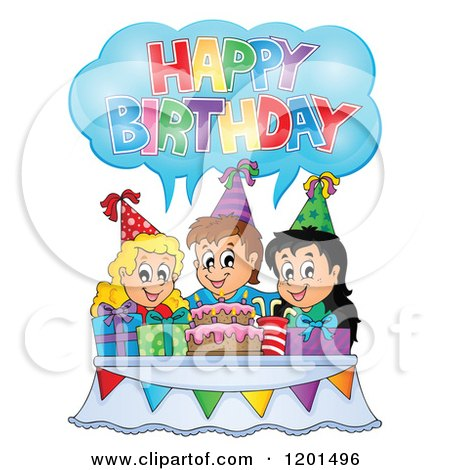 Cartoon of Children Around a Cake Shouting Happy Birthday at a Party - Royalty Free Vector Clipart by visekart