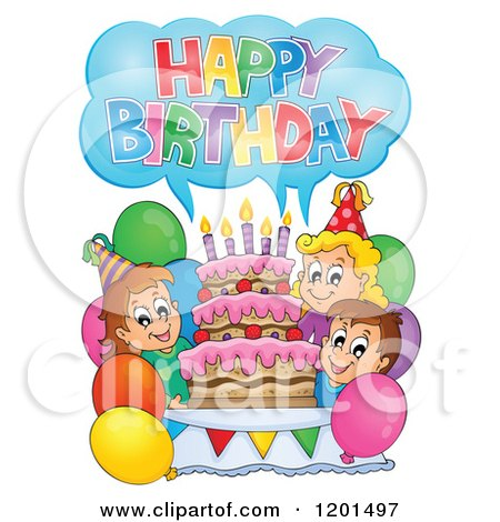 Cartoon of Children Shouting Happy Birthday Around a Cake at a Party - Royalty Free Vector Clipart by visekart