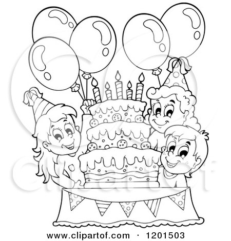 Cartoon Of Happy Outlined Children With Balloons Around A Cake At Birthday Party