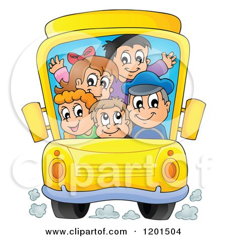 Cartoon of a Crowded School Bus with a Driver and Children - Royalty Free Vector Clipart by visekart