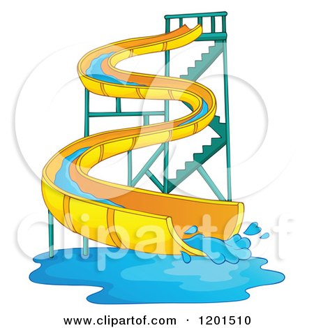 Cartoon of a Wavy Water Park Slide - Royalty Free Vector Clipart by visekart
