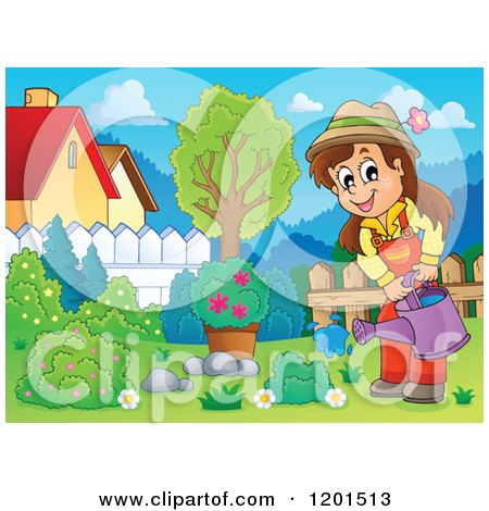 Cartoon of a Happy Brunette Girl Watering a Bush in a Yard - Royalty Free Vector Clipart by visekart