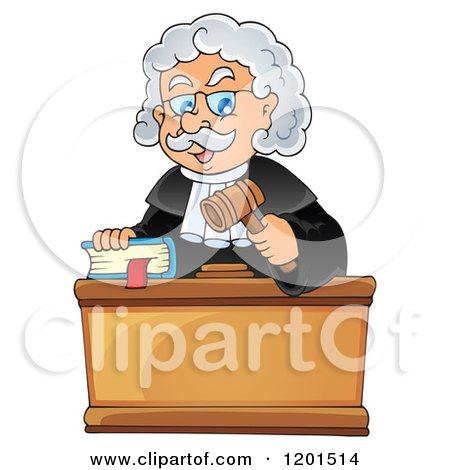 Cartoon of a Happy Male Judge with a Bible and Gavel - Royalty Free Vector Clipart by visekart