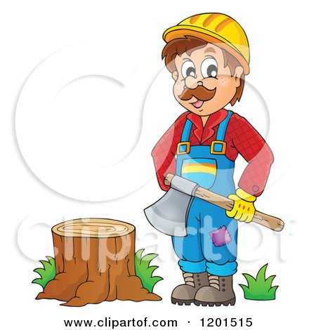 Cartoon of a Happy Lumberjack Man Holding an Axe by a Stump - Royalty Free Vector Clipart by visekart