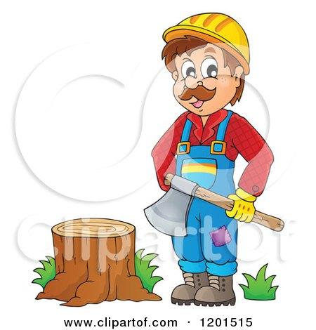 Happy Lumberjack Man Holding an Axe by a Stump Posters, Art Prints