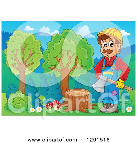 Cartoon of a Happy Lumberjack Man Standing with an Axe by a Stump - Royalty Free Vector Clipart by visekart