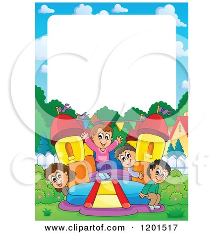 Cartoon of Happy Children Playing on a Bouncy House Castle with White Copyspace - Royalty Free Vector Clipart by visekart