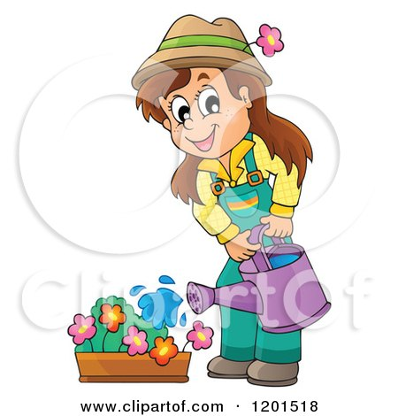 Cartoon of a Happy Brunette Girl Watering a Flower Garden - Royalty Free Vector Clipart by visekart