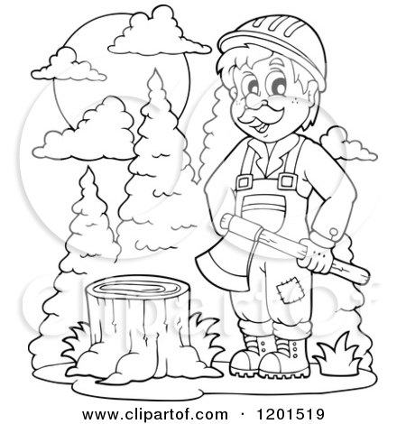 Cartoon of a Happy Outlined Lumberjack Man Holding an Axe by a Stump - Royalty Free Vector Clipart by visekart