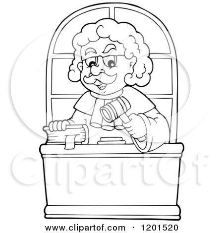 Cartoon of a Happy Outlined Male Judge with a Bible and Gavel - Royalty Free Vector Clipart by visekart