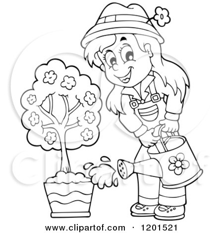 cartoon of a happy brunette girl watering a flower garden