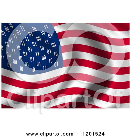Clipart of a 3d Rippling American USA Spy Flag with Binary Instead of Stars - Royalty Free CGI Illustration by stockillustrations