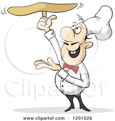 Cartoon of a Talented Pizza Chef Tossing Dough on One Finger - Royalty Free Vector Clipart by Holger Bogen