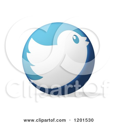 Clipart of a Round Blue Icon with a White Tweet Bird and Shadow on White - Royalty Free Illustration by MacX