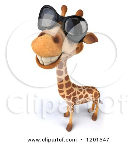 Clipart of a 3d Happy Giraffe Wearing Sunglasses - Royalty Free CGI Illustration by Julos