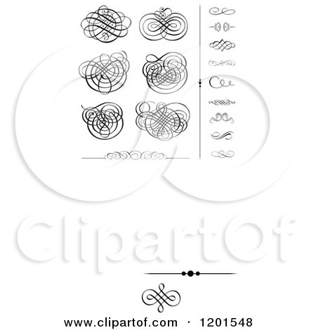 Clipart of Black Swirl Designs and Borders 2 - Royalty Free Vector Illustration by BestVector