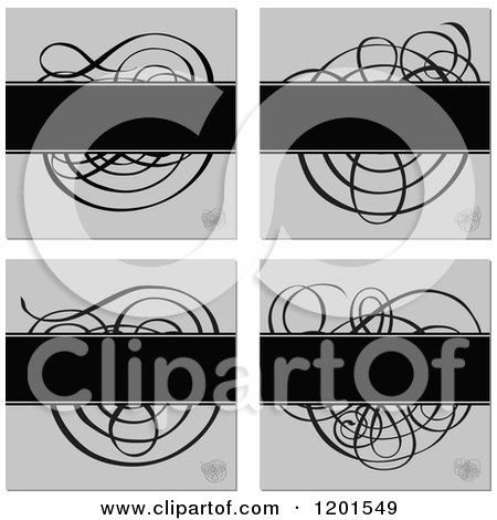 Clipart of Four Grayscale Swirl Designs with Text Space - Royalty Free Vector Illustration by BestVector