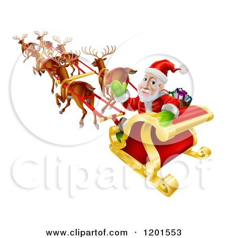 Cartoon of Santa Looking Back and Waving While Flying in His Magic Reindeer Sleigh - Royalty Free Vector Clipart by AtStockIllustration