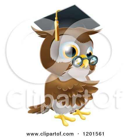 Cartoon of a Pointing Professor Owl with Glasses and Graduation Cap - Royalty Free Vector Clipart by AtStockIllustration