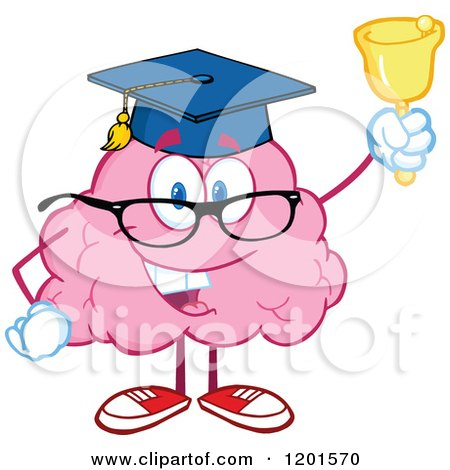 Cartoon of a Pink Brain Mascot Graduate Ringing a Bell - Royalty Free Vector Clipart by Hit Toon