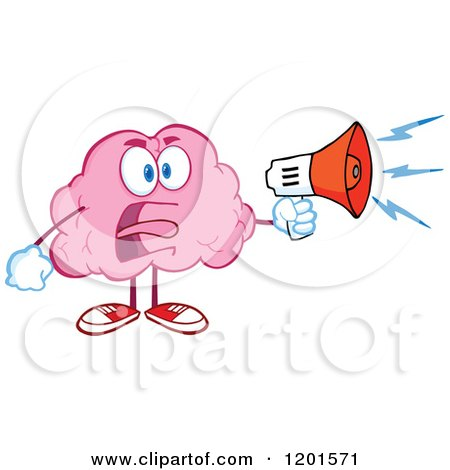 Cartoon of a Shouting Angry Pink Brain Mascot with a Megaphone - Royalty Free Vector Clipart by Hit Toon
