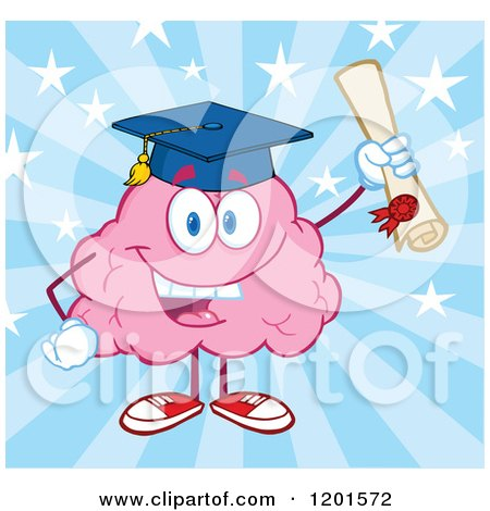 Cartoon of a Pink Brain Mascot Graduate Holding up a Diploma over Blue Rays and Stars - Royalty Free Vector Clipart by Hit Toon