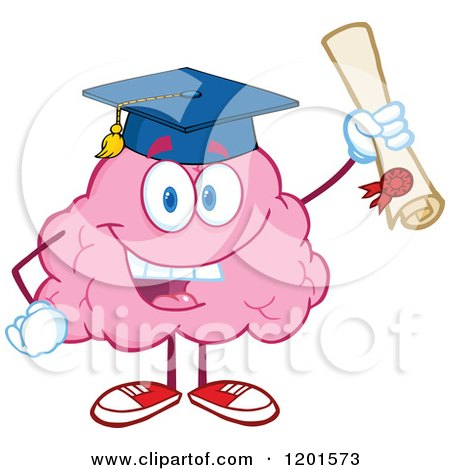 Cartoon of a Pink Brain Mascot Graduate Holding up a Diploma - Royalty Free Vector Clipart by Hit Toon