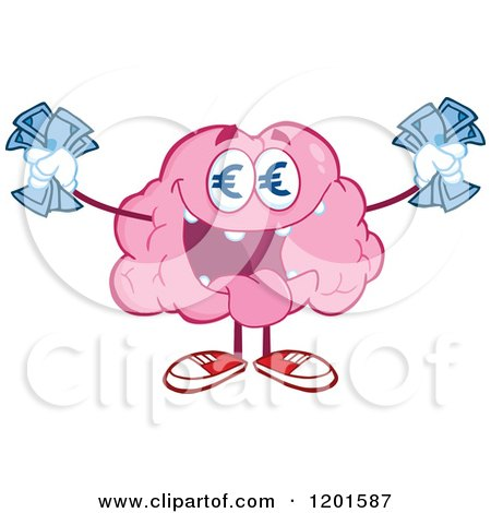 Cartoon of a Pink Brain Mascot with Euro Eyes and Cash - Royalty Free Vector Clipart by Hit Toon