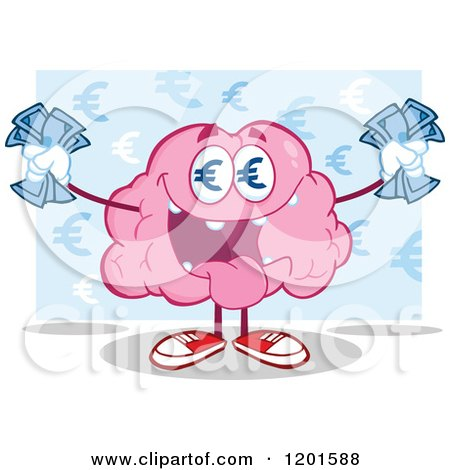 Cartoon of a Pink Brain Mascot with Euro Eyes and Cash over Blue - Royalty Free Vector Clipart by Hit Toon