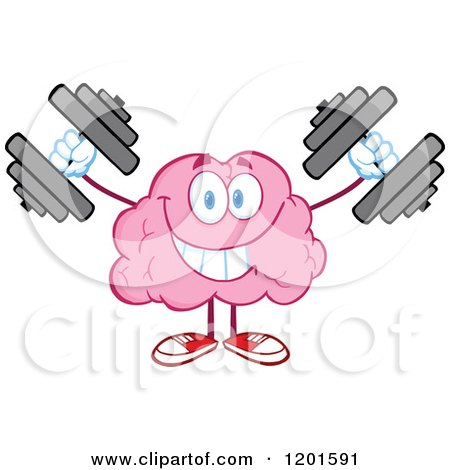 Cartoon of a Strong Pink Brain Mascot Lifting Dumbbells - Royalty Free Vector Clipart by Hit Toon