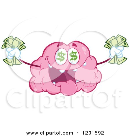 Cartoon of a Pink Brain Mascot with Dollar Eyes and Cash - Royalty Free Vector Clipart by Hit Toon