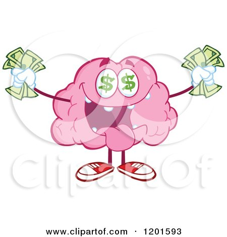 Cartoon of a Rich Pink Brain Mascot with Dollar Eyes and Cash - Royalty Free Vector Clipart by Hit Toon