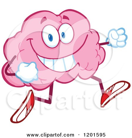 Cartoon of a Happy Pink Brain Mascot Running or Jogging - Royalty Free Vector Clipart by Hit Toon
