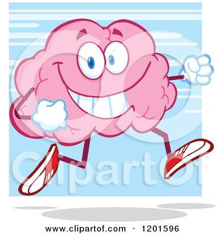Cartoon of a Happy Pink Brain Mascot Running or Jogging over Blue - Royalty Free Vector Clipart by Hit Toon