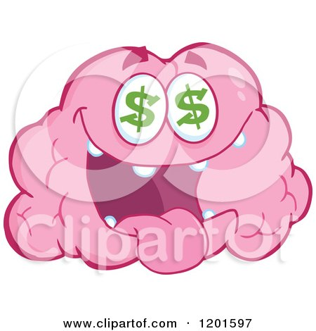 Cartoon of a Pink Brain Mascot with Dollar Eyes - Royalty Free Vector Clipart by Hit Toon