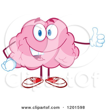 Cartoon of a Pleased Pink Brain Mascot Holding a Thumb up - Royalty Free Vector Clipart by Hit Toon