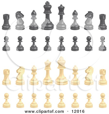 Black and White Chess Pieces Clipart Illustration by AtStockIllustration