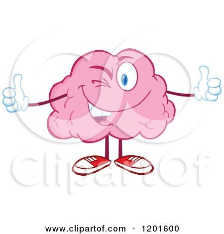 Cartoon of a Pink Brain Mascot Winking and Holding Two Thumbs up - Royalty Free Vector Clipart by Hit Toon