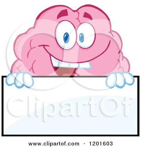 Cartoon of a Pink Brain Mascot Holding a Sign - Royalty Free Vector Clipart by Hit Toon