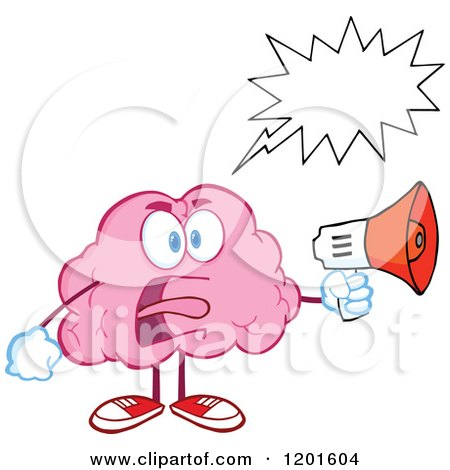 Cartoon of a Shouting Angry Pink Brain Mascot with a Megaphone and Speech Balloon - Royalty Free Vector Clipart by Hit Toon