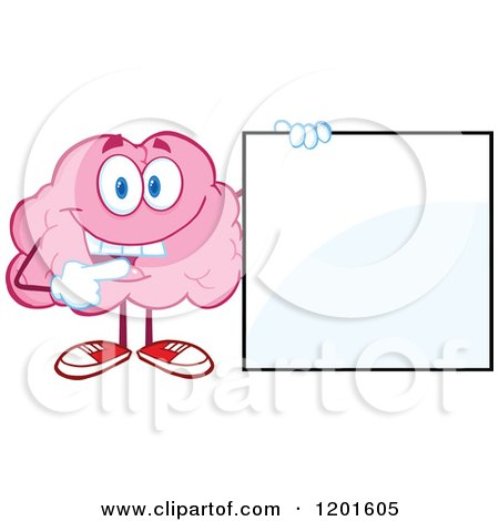 Cartoon of a Pink Brain Mascot Holding and Pointing to a Sign - Royalty Free Vector Clipart by Hit Toon