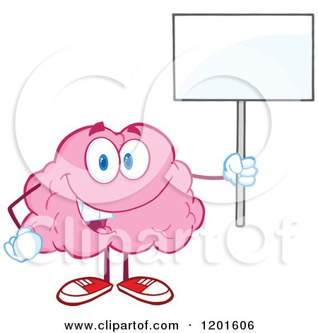 Cartoon of a Pink Brain Mascot Standing and Holding a Sign - Royalty Free Vector Clipart by Hit Toon